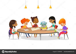 multiracial children sitting around round table with pile of books on it and listening to girl
