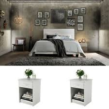 White Bedroom Set Queen Size 3 Piece Furniture Modern Platform Bed 2 ...