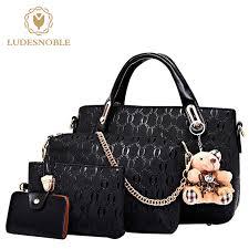 women 4set leather shoulder bag