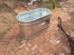galvanized water trough on patio