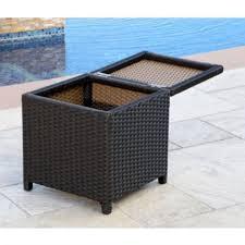 abbyson carlsbad outdoor wicker storage ottoman in espresso