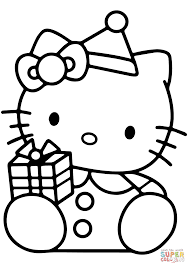 Small Picture Hello Kitty with Christmas Gift Box coloring page Free Printable