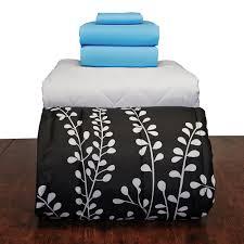 aqua black vines basic twin xl dorm bedding set