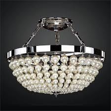 semi flush ceiling light pearl like beads moo 642ns16sp 7
