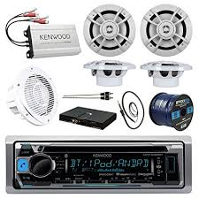 sound system kit. boat sound system package: kenwood marine bluetooth receiver + compact 4-ch amp sound system kit