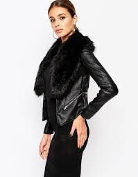 river island leather look jacket with faux fur collar