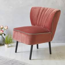 blush pink velvet mid century cocktail chair by fern  grey