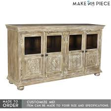 details about made to order hand carved glass door solid wood sideboard buffet whitewash