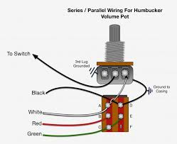 how it works red and green are connected when the switch is pushed down this is a normal series humbucker operation by pulling up on the switch