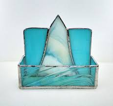 turquoise office decor. Turquoise Office Decor. Business Card Holder - Stained Glass Blue Desk Accessory Decor K