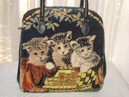 carpet bag purse. large vintage marlow carpet bag purse w/3 kittens \u0026 terrier puppies-dbl sided a