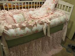 custom crib set pink grey shabby chic style 6pc cozy relaxed and chic bedding sets