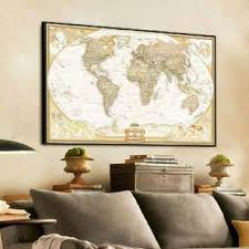 nice retro paper world map antique poster wall chart home decoration uk