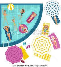 Vector cartoon people in swimming pool Vector cartoon clip art
