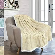 amazon pavilia premium beige sherpa melange throw blanket for couch sofa by soft fluffy plush warm cozy fuzzy lightweight microfiber