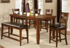 mango 7 piece dining set table w leaf 4 chairs and a bench counter height