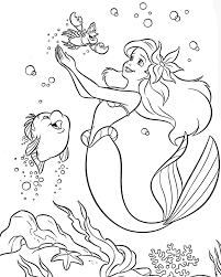 Ariel Mermaid Good Look Coloring Page Colouring Pages Disney