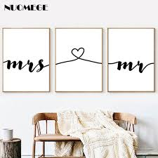 <b>NUOMEGE Nordic</b> Mr Mrs Love Prints on Canvas <b>Poster</b> Black and ...