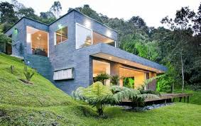 image of modern house plans for homes built into a hill