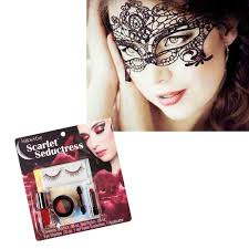 dels about costume masquerade lace mask with sparkly makeup kit