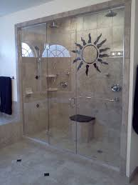 stunning glossy screen glass for stall shower design with cream marble wall also small bench plus sunburst wall decal