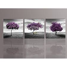 nuolan art canvas print 3 panels purple trees modern landscape framed canvas wall art  on canvas wall art purple flowers with amazon nuolan art canvas print 3 panels purple trees modern