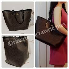 New Coach large signature brown black tote