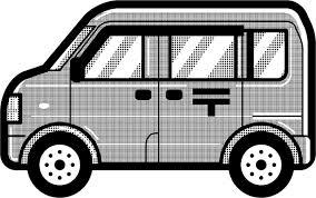 郵便車のイラスト働く車乗り物素材のプチッチ