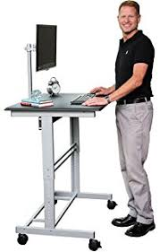 standing computer desk. Wonderful Desk 40u201d Mobile Adjustable Height Stand Up Desk With Monitor Mount Black  Shelves  Silver Throughout Standing Computer T