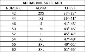 Nhl Jersey Size Chart Adidas Adidas Hockey Jersey Size Chart