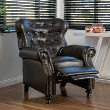 christopher knight home tafton tufted fabric club chair bonded leather recliner club chair by knight home