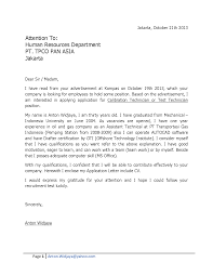 Application Letter Fresh Graduate Accounting