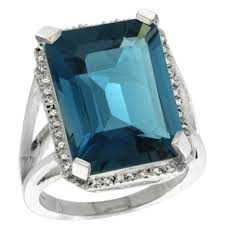 sterling silver diamond natural london blue topaz ring emerald cut 18x13mm 13 16