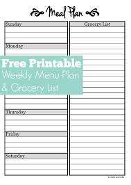 menu planner printable meal planning free weekly menu planner printable