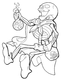 Small Picture Skeleton Coloring Pages Fun for Halloween