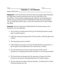 federalists vs anti federalists identification worksheet and  federalists vs anti federalists identification worksheet and answer key