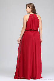 Plus Size Bridesmaid Designers 2018 Designer Long Plus Size Bridesmaid Dresses Cheap Red Chiffon Maid Of Honor Gowns Floor Length Halter Prom Party Dress Cps618 Bridal Dressing