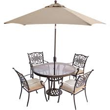 outdoor dining sets with umbrella. Traditions 5-Piece Dining Set In Tan With 48 In. Glass-top Table, 9 Ft. Table Umbrella, And Umbrella Stand - TRADDN5PCG-SU Outdoor Sets N
