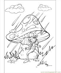 Small Picture Flip Under The Mushroom In The Rain Coloring Page Coloring Page