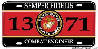 Us Marine Corps Mos 1371 Combat Engineer Aluminum License
