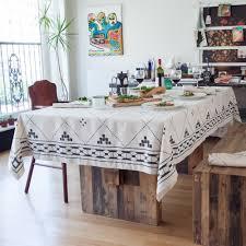 natural linen tablecloth  black modern moroccan tile design