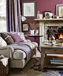 purple living room with wooden coffee table