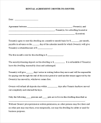 Month To Month Rental Agreement Template Free 7 Sample Month To Month Rental Agreement Forms In