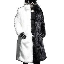 winter men faux fur jacket black white warm thick jacket fashion faux fur jaqueta couro masculino
