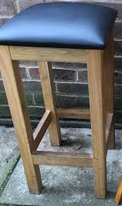 68cm baltic solik oak stool with leader tall wooden kitchen bar stool