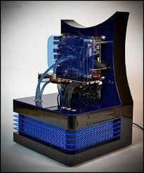custom built pc created by danish master computer builder mads bendtsen aka dluxe made of plexiglas stainless steel nylon and other lovely components