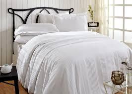 donetella king size cotton satin stripes pattern white duvet covers