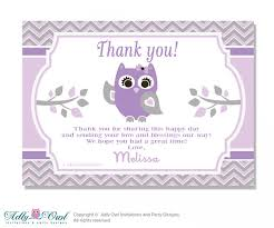 Purple Owl Thank You Card With Personalization Purple Owl BabyOwl Baby Shower Thank You Cards