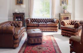 rustic country living room furniture with nice looking brown leather sofa and drum shape white table lamp
