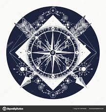 розовый компас дизайн футболки татуировка путешественников